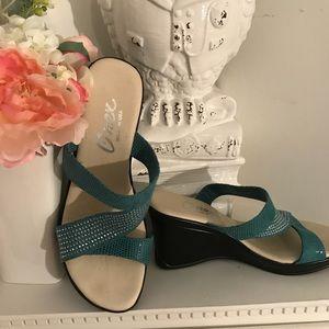 Onex wedge snakeskin/rhinestone shoes